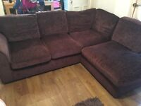 Brown L Couch & 2 seater
