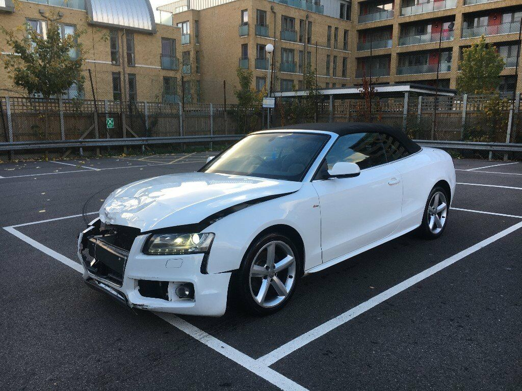 2010 audi a5 s line 2 0 tdi convertible ibis white damaged salvage repairable in leyton. Black Bedroom Furniture Sets. Home Design Ideas