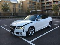 2010 AUDI A5 S LINE 2.0 TDI CONVERTIBLE IBIS WHITE DAMAGED SALVAGE REPAIRABLE