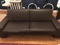 Faux leather dark brown futon