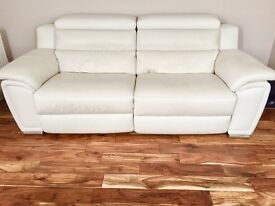 DFS WHITE MODERN CONTEMPORARY LUXURY LEATHER ELECTRIC POWER RECLINER 3 SEATER SOFA COST £1700
