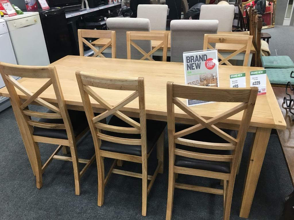 BHF NATURAL OAK DINING TABLE AND 6 CHAIRS Exeter