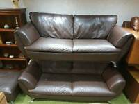 *FREE DELIVERY* Stunning BROWN leather sofas 2 x 3 seater sofas and free footstool