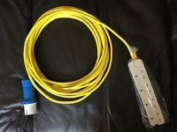Tent electric hook up cable new unused 10m long with blue Euro site plug and UK 4way socket