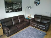 2 + 3 Reclined Leather Sofas