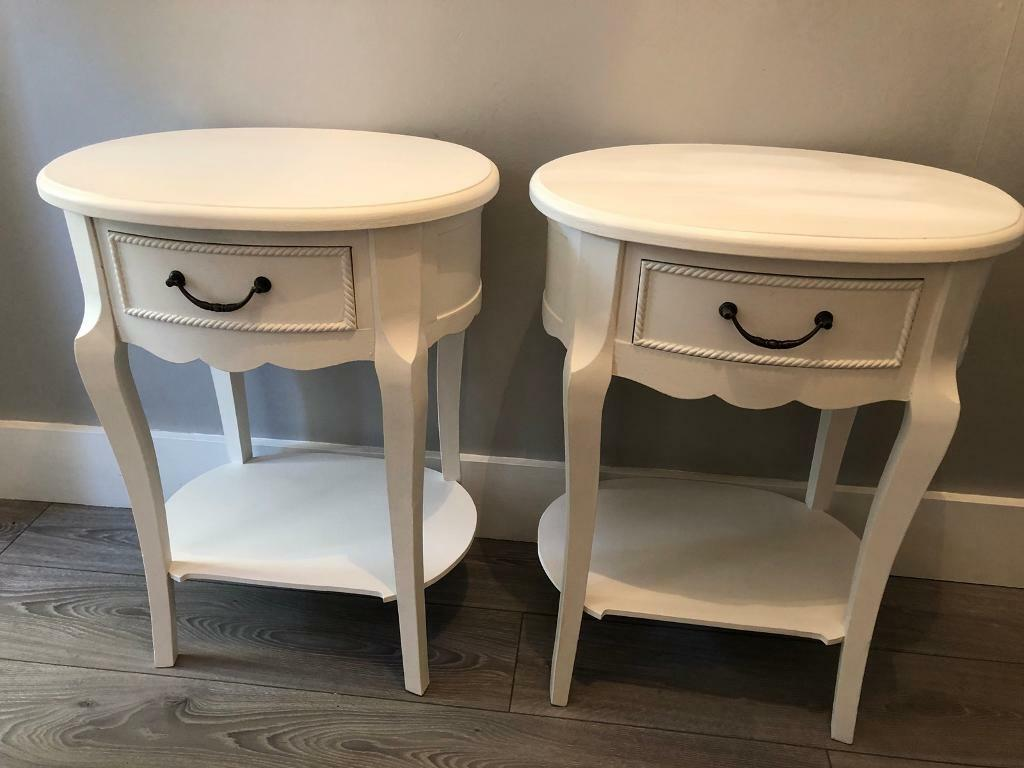 French Style White Oval Bedside Tables In Carshalton London Gumtree