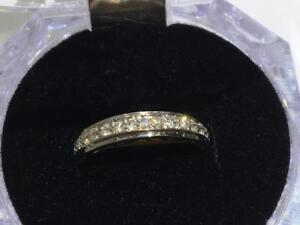 #1329 14K WHITE GOLD DIAMOND WEDDING BAND SIZE 5 1/2 ** JUST BACK FROM APPRAISAL AT $1550.00 SELLING FOR $495.00**