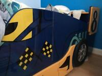 Kids car shaped bed with mattress
