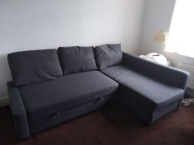 Large, grey sofa bed (double) with underbed storage