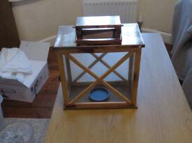Large wooden lantern. Wedding