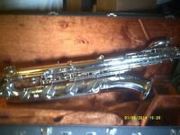 """BARITONE SAXOPHONE """" THE BIG ONE ! """" LOW """" A """" INSTRUMENT in V.G.C. + mouthpiece & CASE"""