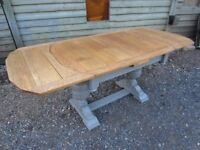 Stunning Large Antique Oak Draw Leaf Extending Dining Table Painted Farrow & Ball - Osmo Polyx Oil