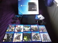 Hardly Used PS4 500 GB console + 10 games