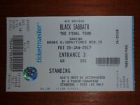 Black Sabbath concert ticket for Dublin 20 January 2017. Standing.