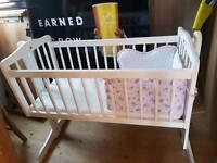 Swinging baby crib white wood