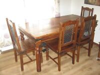 Table (wood) with 4 styilsh chairs