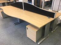 Wave style office desks 180cm excellent condition light oak
