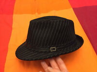 Men's or Women's Black Pinstripe Hat Halloween Costume Fancy Dress Goth Emo Musician