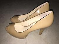NINE WEST women's platform nude peep toe pump size 8M