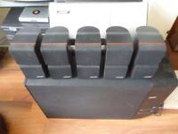 complete bose home cinema entertainment system with five cube speakers & cd player & long cables....