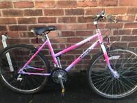 pair of ladies raliegh mountain bikes
