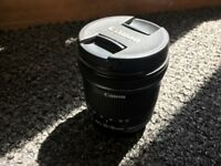 Canon EF-S 10-18mm f/4.5 5.6 IS STM Lens with hood
