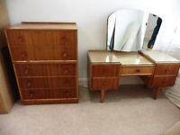 Vintage Retro 60's Dressing Table and Chest of Drawers