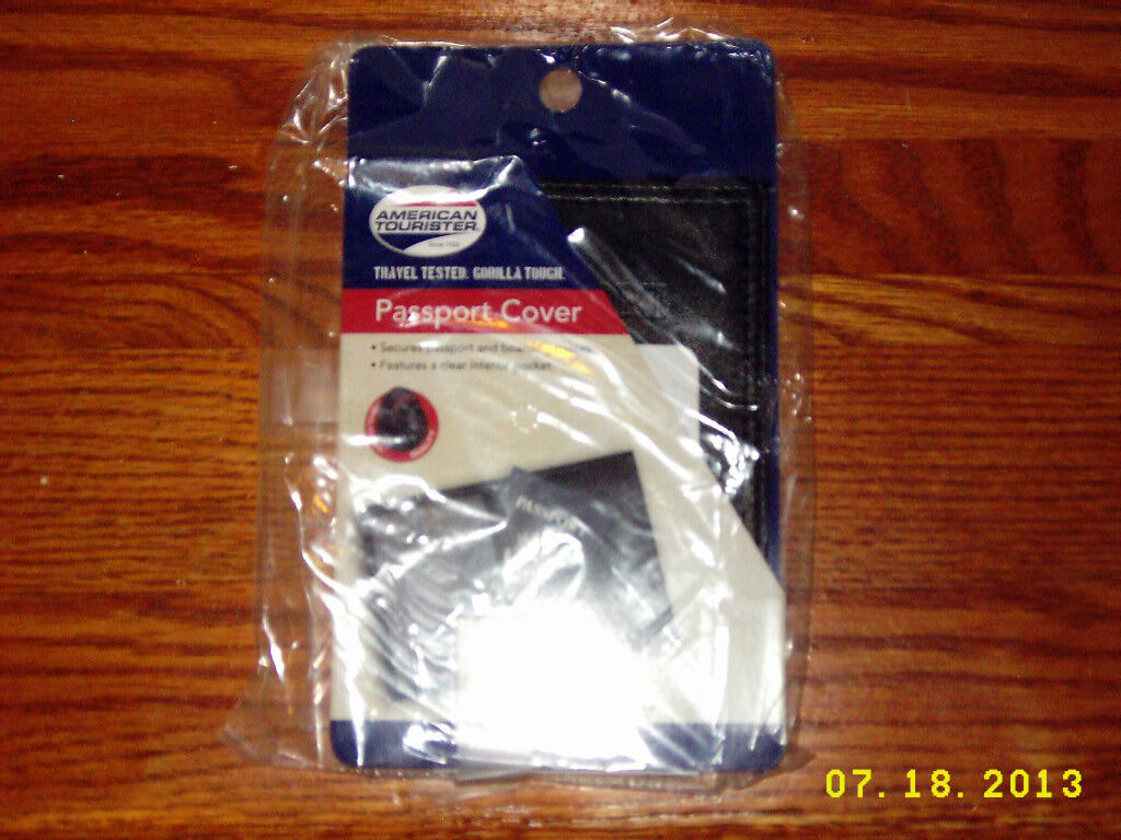AMERICAN TOURISTER Black Leather Passport Cover - NEW - $8.00