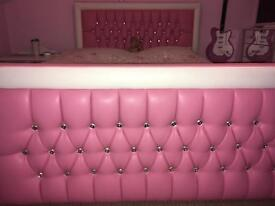 Pink faux leather double bed with memory foam mattress and next pink bedding excellent condition