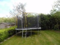 12ft sports power trampoline with side safty zip, net, ladder, and shoe bag