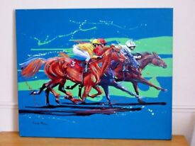 Superb genuine original painting 'Racing Opposition' by Louise Mizen