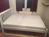 John Lewis Wilton white double bed frame and memory foam mattress