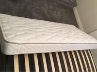 *CATALOGUE RETURN* Stylish black metal trundle single bed frame with silent night mattress