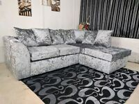 new left arm silver crushed velvet corner sofa