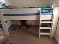 Used white Mid-sleeper bed with mattress.