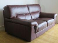 Two x Calia designer 3 seater dark brown italian leather sofas - very good condition