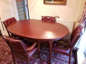 Real leather dining suite- 4 chairs