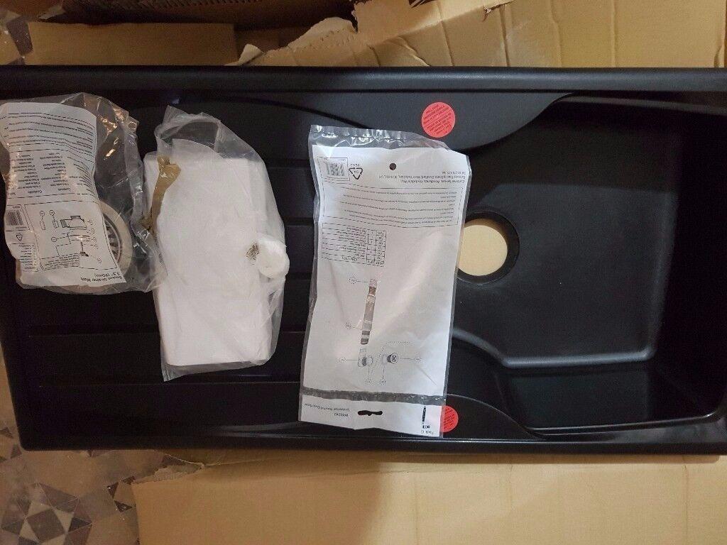 Astracast Sierra 1.0 Black Kitchen Sink Inc Waste + Black Mixer Tap