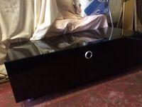 Black glossy glass tv unit with storage