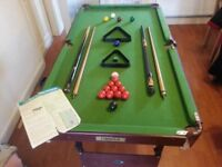 Snooker/Pool Table 4 ft With Folding Legs.2 x Balls.2 x Cues.Rules & Chalk.Used