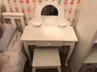 Girls Solid Built White Dressing Table & Stool from GLTC bargain £50