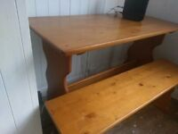 Pine Dining Table & 2 Benches