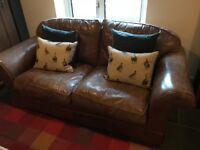 Beautiful vintage leather Laura Ashley sofa