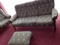 Sofa 2 armchairs and footstool