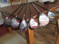 Golf clubs, gof bag and electric golf trolley