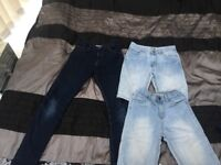 2 pairs of boys denim shorts and one pair of slim fit jeans, size 10