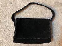 Suede hand made bag- black