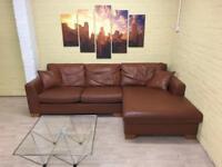 Heals Tan/Brown Leather Corner Sofa
