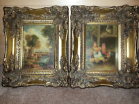 """Antiques Painting 1 """"Children over the river""""2 """"Rabbit and chickens""""...Framed By Geo Rowney & Co"""