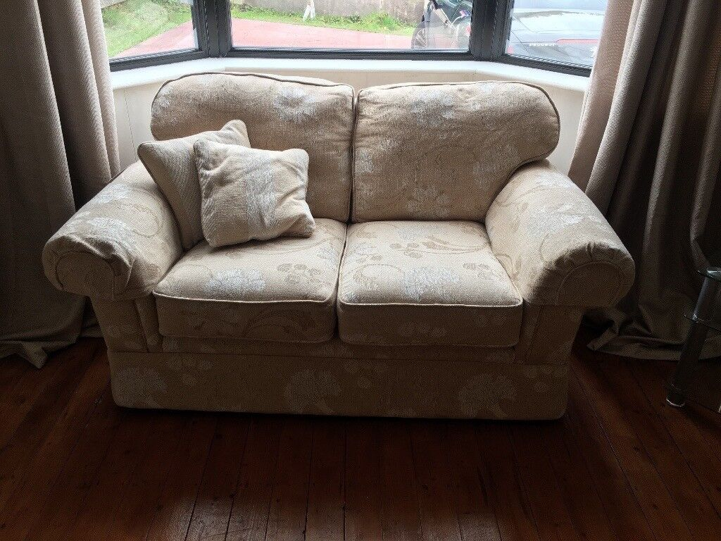 2 seater sofa and armchair -cream coloured